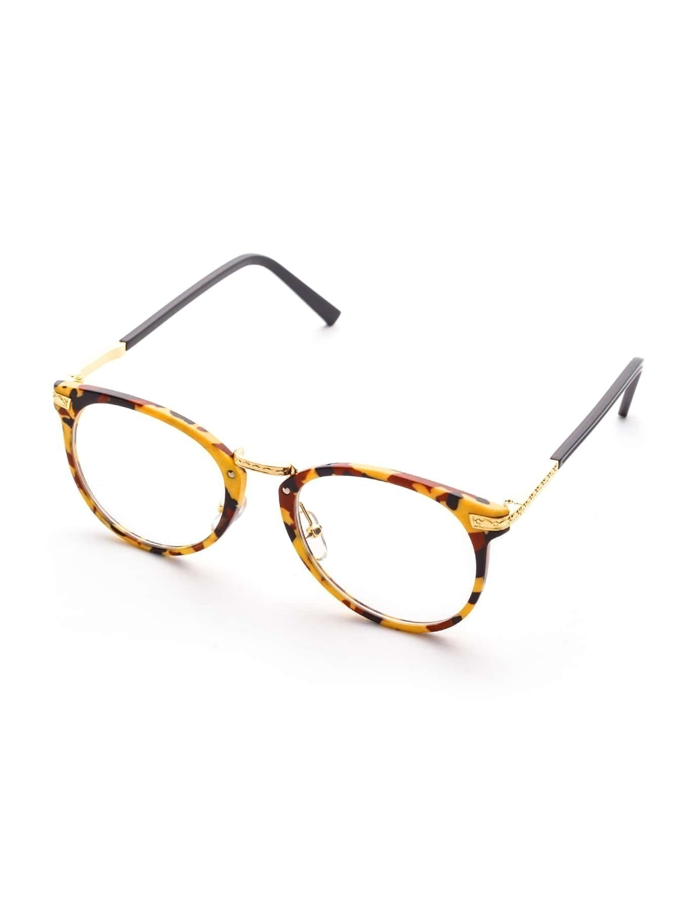 Multicolor Frame Metal Arm Clear Lens Glasses
