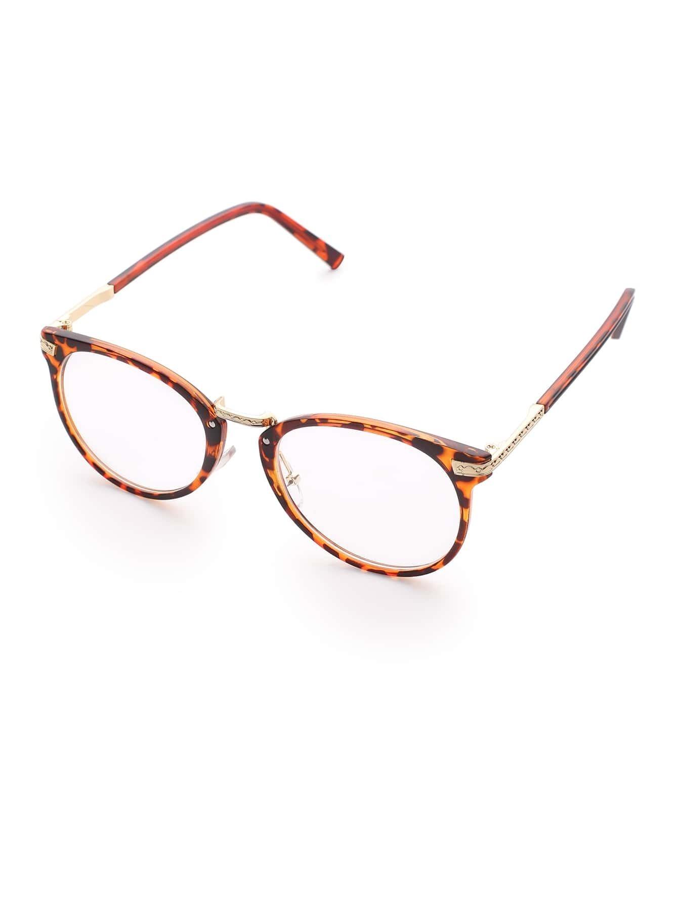 Leopard Frame Metal Arm Clear Lens Glasses