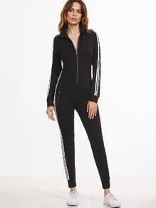 Black Striped Sideseam Zip Up Skinny Sweat Jumpsuit