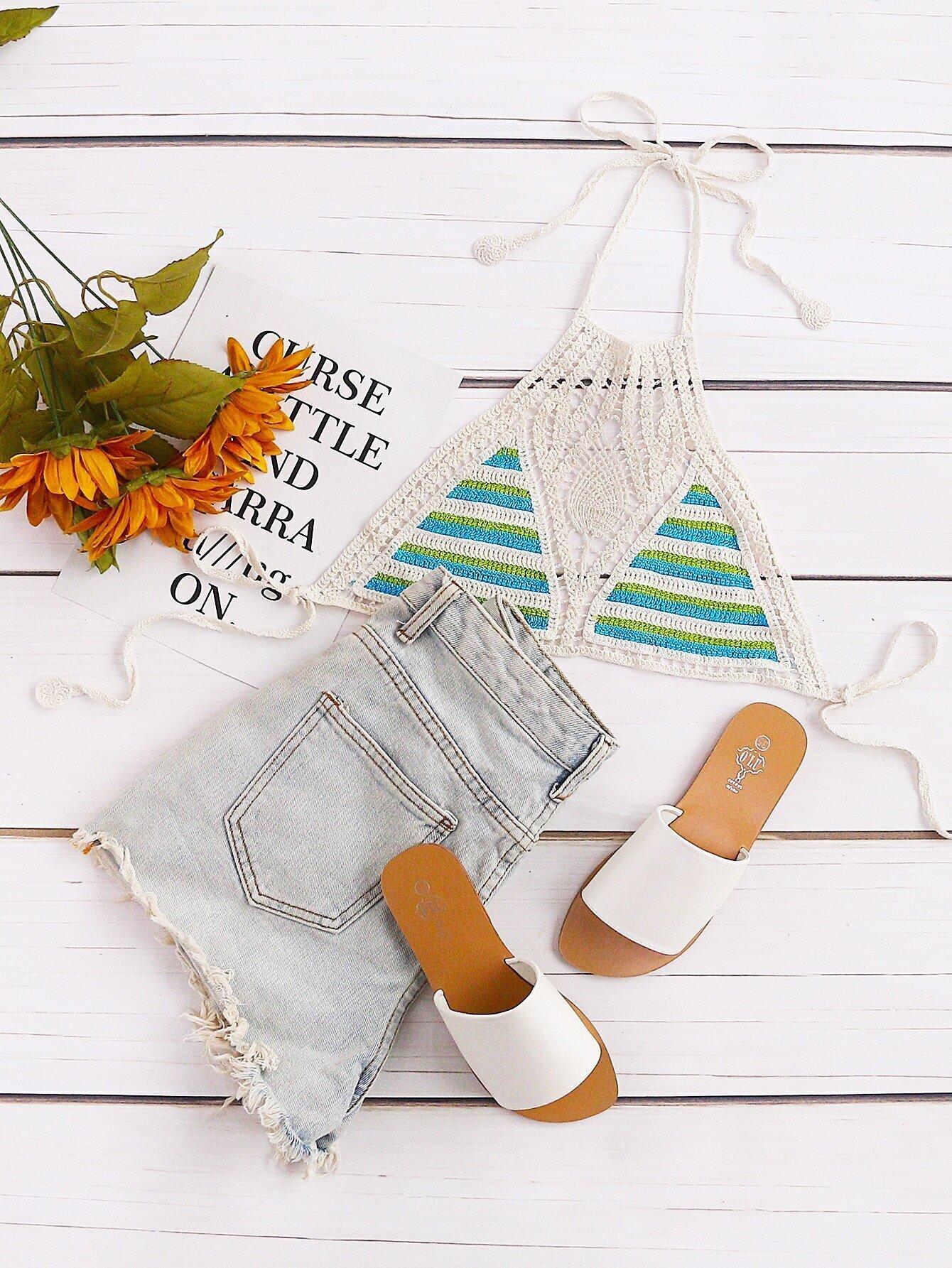 Striped Crochet Halter Neck Knitted Top