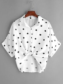 White Polka Dot Knot Front Cuffed Blouse
