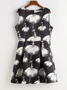 Black Girl Print Fit & Flare Dress