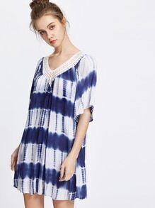 Tie Dye V Neck Contrast Lace Dress
