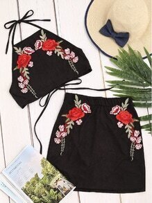 Black Suede Flower Embroidered Halter Top With Skirt