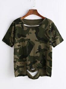 Camo Print Ripped High Low T-shirt