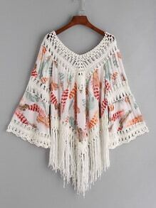Contrast Hollow Out Crochet Feather Print Fringe Hem Top