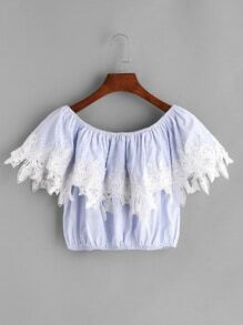 Blue Contrast Crochet Trim Boat Neck Crop Top