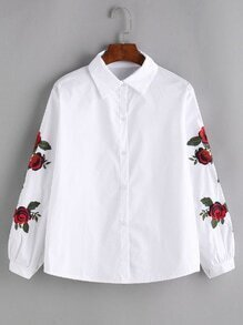 White Rose Embroidered Shirt