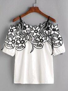 White Cold Shoulder Contrast Crochet Trim Top