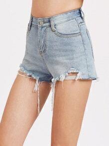 Pantalones cortos en denim con borde crudo-azul claro