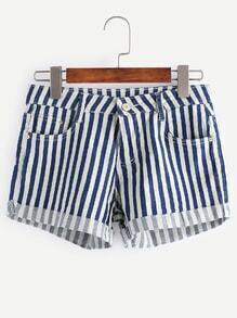 Contrast Striped Rolled Hem Denim Shorts