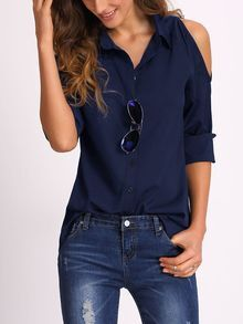 Navy Open Shoulder Blouse