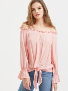 Pink Off The Shoulder Knotted Hem Ruffle Top