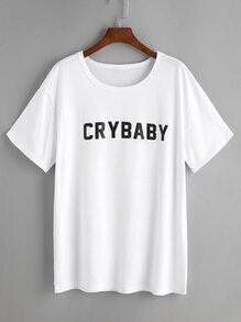 T-shirt imprimé lettre blanche