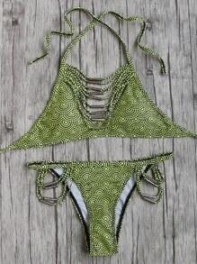 Set bikini de lunares halter con tiras - amarillo