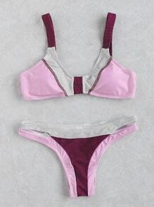 Set bikini con detalle de abertura color block - rosa