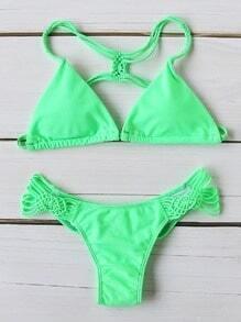 Set bikini en triángulo con tiras - verde claro