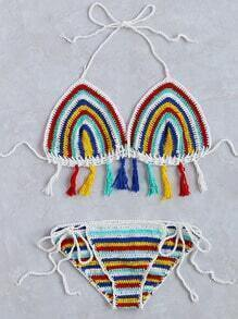 Multicolor Striped Fringe Hem Crochet Triangle Bikini Set