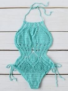 Monokini sexy de croché con cordón en la parte lateral - turquesa