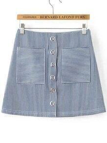 Falda de rayas verticales con detalle de ojales y bolsillo - azul