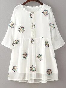 White Floral Embroidery Double Layered Dress
