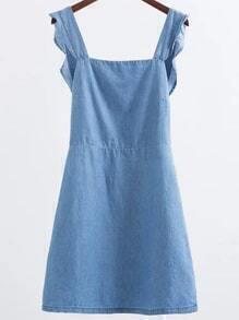 Vestido con ribete festoneado de línea A en denim - azul