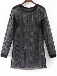 Black Long Sleeve Casual Mesh Dress