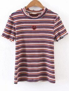 Multicolor Striped Cutout Detail Tee