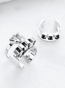 Set anillo hueco con apliques cristales - plateado