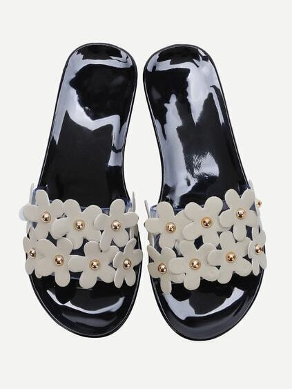 Black Flower Embellished Slide Flat Sandals