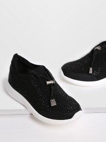 Zapatillas con detalle de apliques cristales - negro