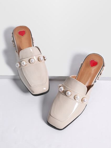 Apricot Faux Pearl Chunky Heeled Loafer Slippers