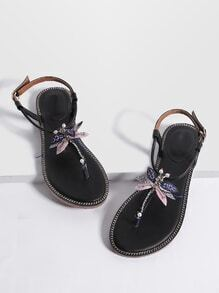 Black Dragonfly Detail Toe Post Flat Sandals