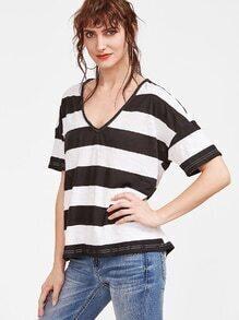 Camiseta de rayas con cuello en V hombro caído - negro blanco