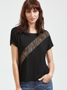 Camiseta de manga corta en panel de rejilla - negro