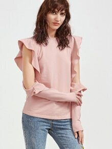 Camiseta hombro abierto con volantes - rosa