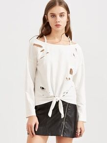 White Cold Shoulder Knot Front Distressed Sweatshirt