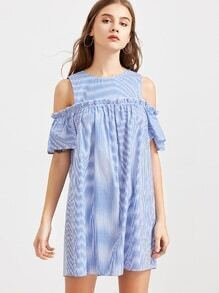 Blue Striped Cold Shoulder Ruffle Trim Dress