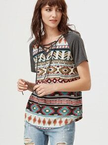 Multicolor Tribal Print Lace Up V Neck Raglan Sleeve Hooded T-shirt