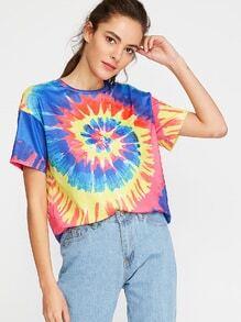 Multicolor Tie Dye Print Short Sleeve T-shirt