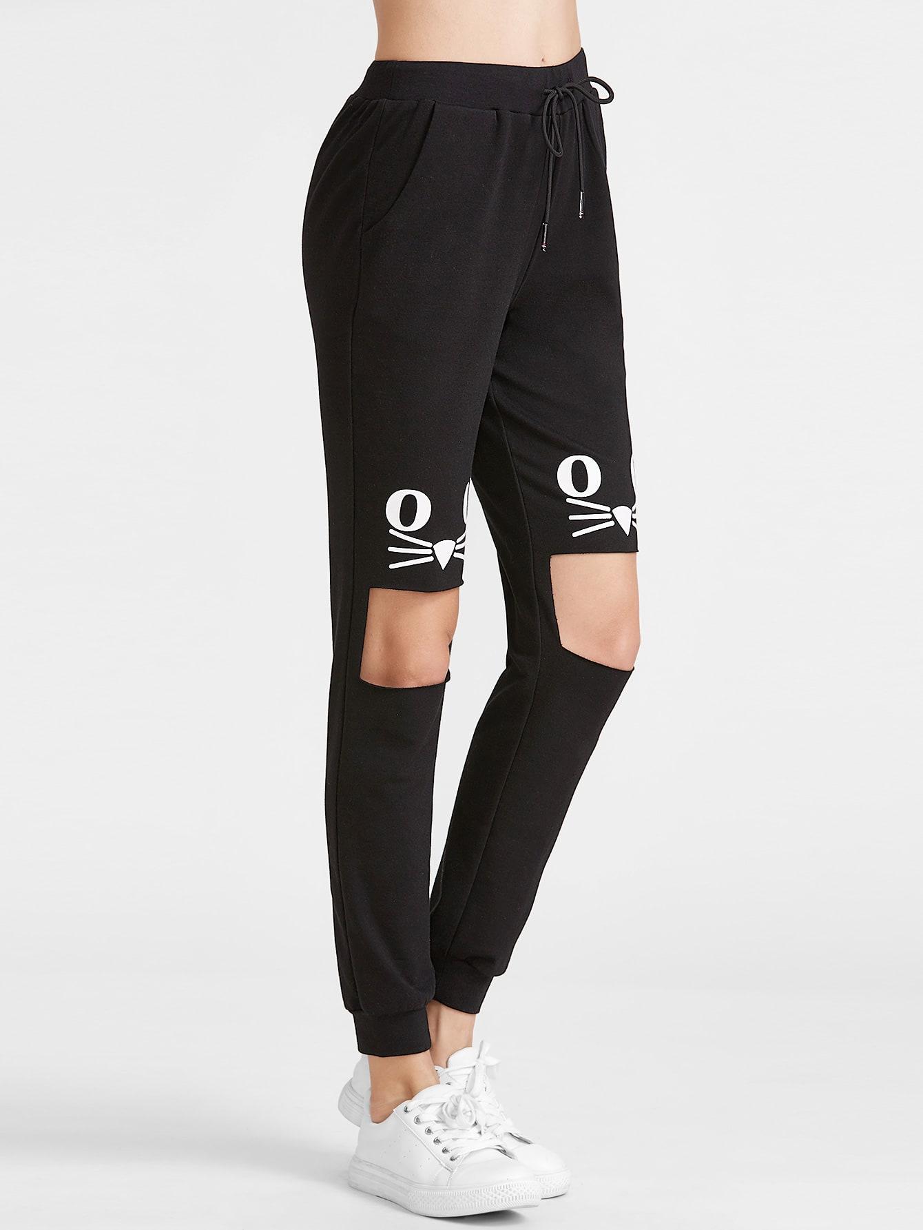 Black Cat Print Open Knee Sweatpants