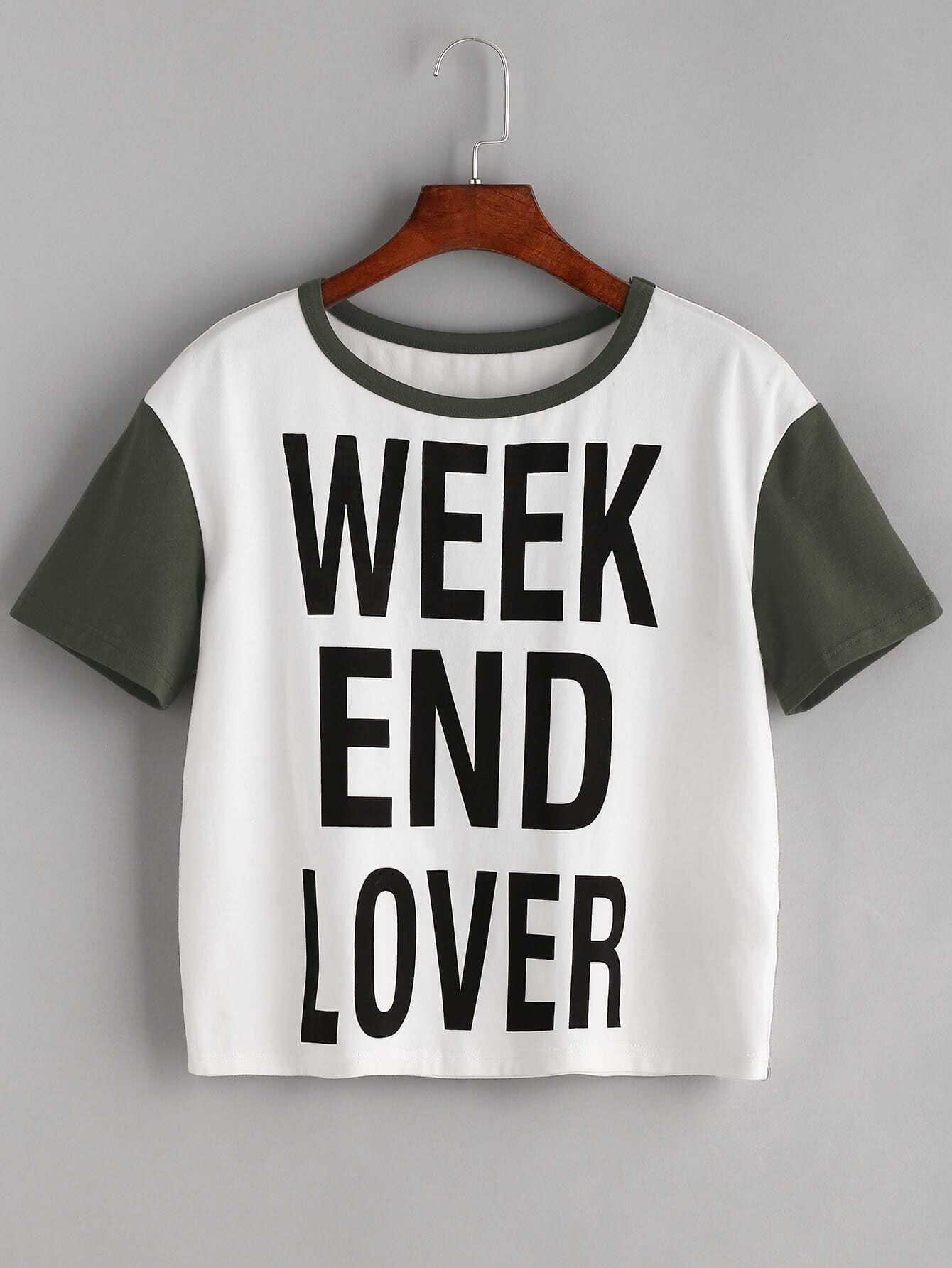 White Letter Print Contrast Short Sleeve T Shirt