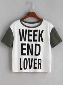 Camiseta con estampado de letras - blanco