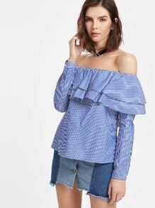 Blue Striped Layered Ruffle Off The Shoulder Top