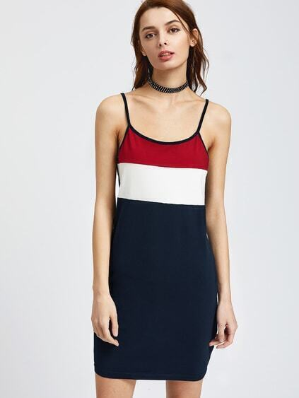 Color Block Cami Sheath Dress