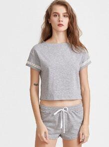 Heather Grey Ineinander greifen-Einsatz-T-Shirt mit Drawstring-Kurzschlüssen