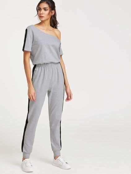 Heather Grey Asymmetric Off The Shoulder Contrast Panel Jumpsuit