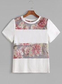 White Flower Print Mesh Insert T-shirt