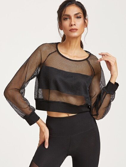 Black Raglan Sleeve Crop Fishnet Sweatshirt