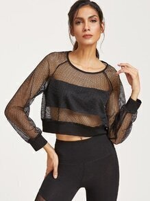 Black Raglan Sleeve Crop Fishnet Sweatshirt